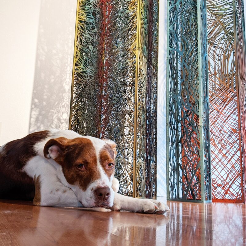 River, Ridge, Range Columns at home with Ruby the dog