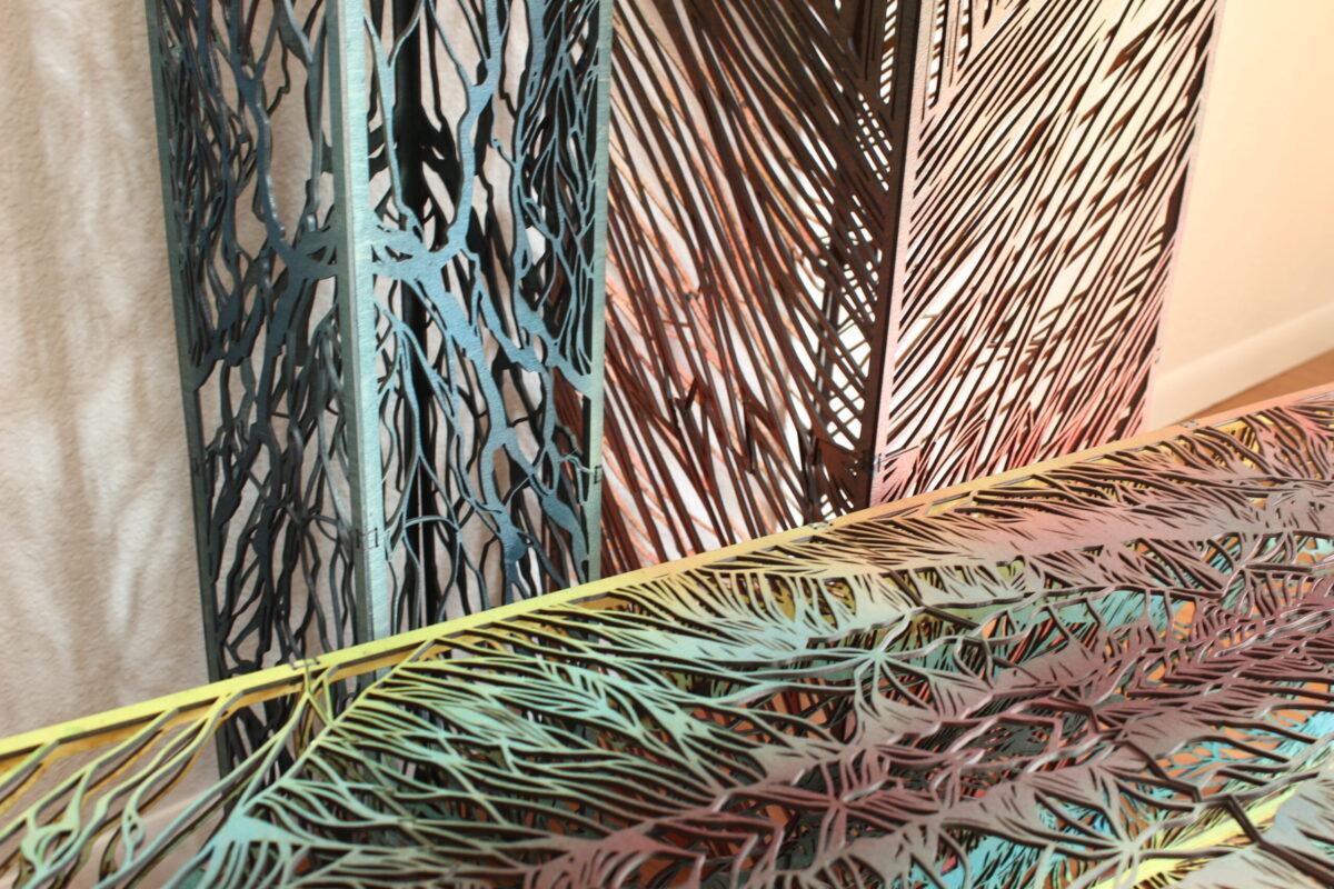 River, Ridge, Range Columns, wood sculpture closeup